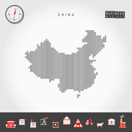Vector Vertical Lines Map of China. Striped Silhouette of China. Realistic Compass. Business Icons