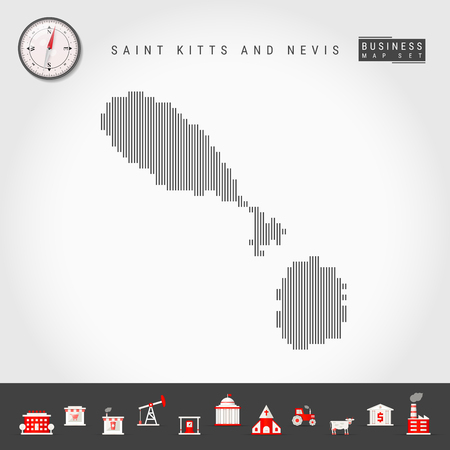 Vector Vertical Lines Map of Saint Kitts and Nevis. Striped Silhouette. Realistic Compass. Business Icons 向量圖像