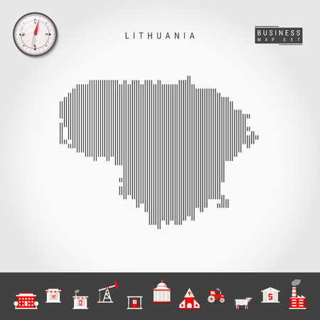 Vector Vertical Lines Pattern Map of Lithuania. Striped Simple Silhouette of Lithuania. Realistic Vector Compass. Business Infographic Icons.