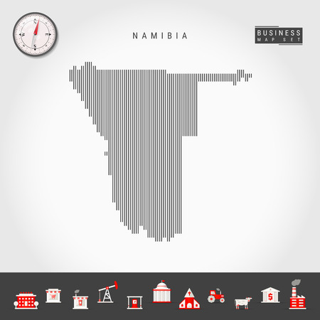 Vector Vertical Lines Pattern Map of Namibia. Striped Simple Silhouette of Namibia. Realistic Vector Compass. Business Infographic Icons.