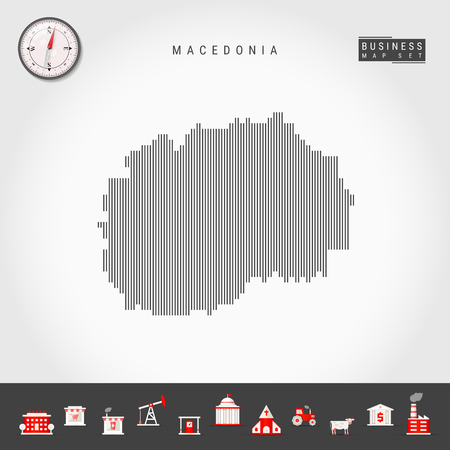 Vector Vertical Lines Pattern Map of North Macedonia. Striped Simple Silhouette of North Macedonia. Realistic Vector Compass. Business Infographic Icons.