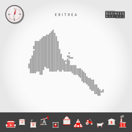 Vector Vertical Lines Pattern Map of Eritrea. Striped Simple Silhouette of Eritrea. Realistic Vector Compass. Business Infographic Icons.