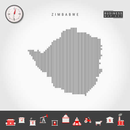 Vector Vertical Lines Pattern Map of Zimbabwe. Striped Simple Silhouette of Zimbabwe. Realistic Vector Compass. Business Infographic Icons.