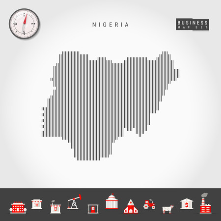 Vector Vertical Lines Pattern Map of Nigeria. Striped Simple Silhouette of Nigeria. Realistic Vector Compass. Business Infographic Icons.