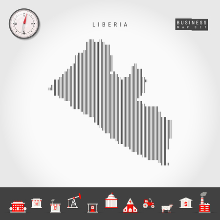 Vector Vertical Lines Pattern Map of Liberia. Striped Simple Silhouette of Liberia. Realistic Vector Compass. Business Infographic Icons. 向量圖像