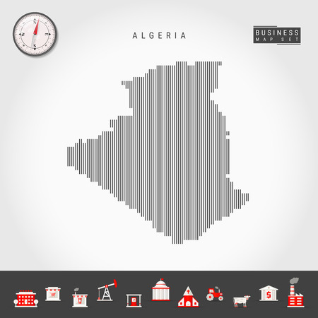 Vector Vertical Lines Pattern Map of Algeria. Striped Simple Silhouette of Algeria. Realistic Vector Compass. Business Infographic Icons.