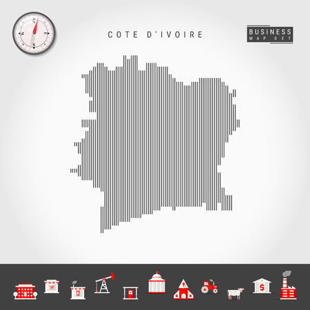 Vector Vertical Lines Pattern Map of Cote d'Ivoire. Striped Simple Silhouette of Ivory Coast. Realistic Vector Compass. Business Infographic Icons. 向量圖像