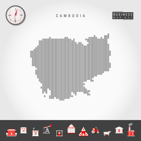 Vector Vertical Lines Pattern Map of Cambodia. Striped Simple Silhouette of Cambodia. Realistic Vector Compass. Business Infographic Icons.