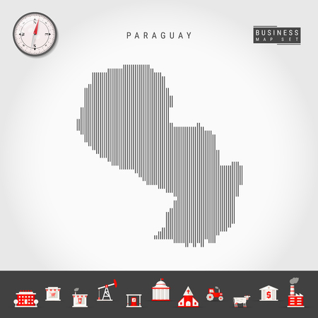 Vector Vertical Lines Pattern Map of Paraguay. Striped Simple Silhouette of Paraguay. Realistic Vector Compass. Business Infographic Icons. 向量圖像