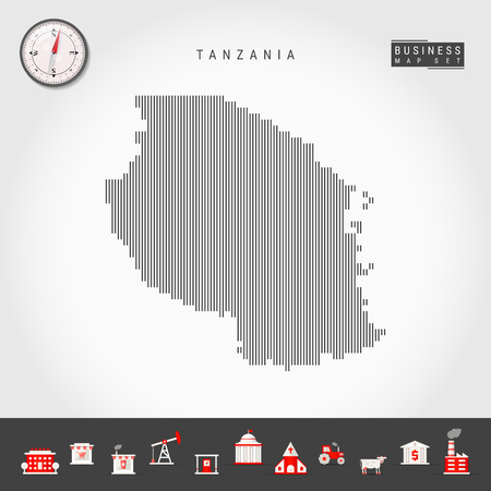 Vector Vertical Lines Pattern Map of Tanzania. Striped Simple Silhouette of Tanzania. Realistic Vector Compass. Business Infographic Icons. 向量圖像