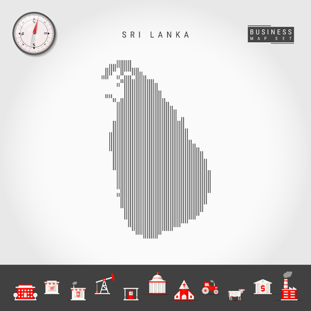 Vector Vertical Lines Pattern Map of Sri Lanka. Striped Simple Silhouette of Sri Lanka. Realistic Vector Compass. Business Infographic Icons. 向量圖像
