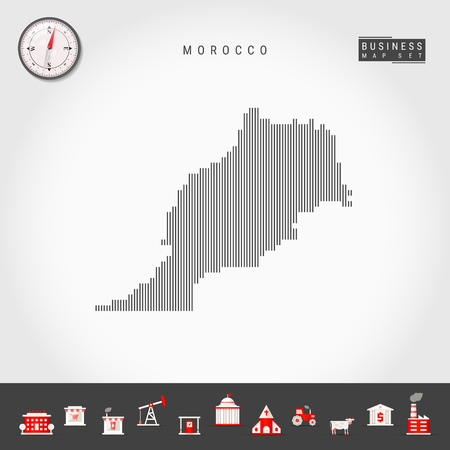 Vector Vertical Lines Pattern Map of Morocco. Striped Simple Silhouette of Morocco. Realistic Vector Compass. Business Infographic Icons.