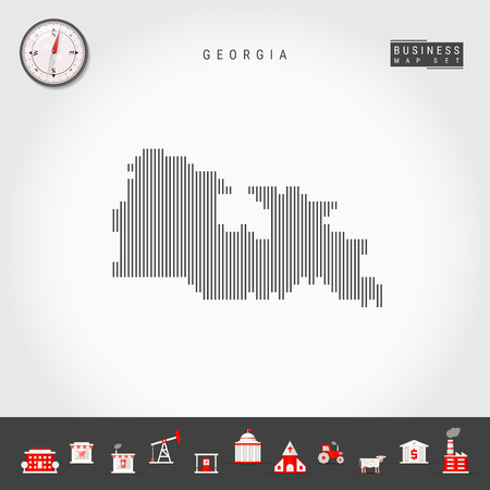Vector Vertical Lines Pattern Map of Georgia. Striped Simple Silhouette of Georgia. Realistic Vector Compass. Business Infographic Icons. 向量圖像