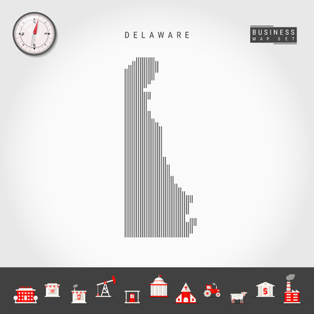 Vector Vertical Lines Pattern Map of Delaware. Striped Simple Silhouette of Delaware. Realistic Compass. Business Infographic Icons.