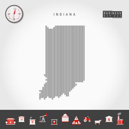 Carte de motif de lignes verticales vectorielles de l'Indiana. Silhouette simple rayée de l'Indiana. Boussole réaliste. Icônes d'infographie commerciale. Vecteurs