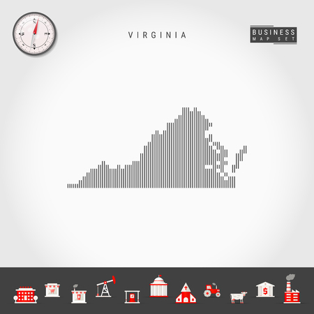 Vector Vertical Lines Pattern Map of Virginia. Striped Simple Silhouette of Virginia. Realistic Compass. Business Infographic Icons.