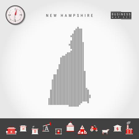 Motif de lignes verticales vectorielles Carte du New Hampshire. Silhouette simple rayée du New Hampshire. Boussole réaliste. Icônes d'infographie commerciale. Vecteurs