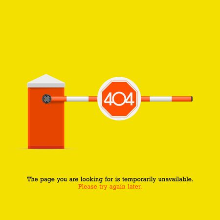 404 Page not Found Design Template. Orange Striped Car Barrier with Stop Sign. 404 Error Concept. Link to Non-Existing Domain. Vector Illustration