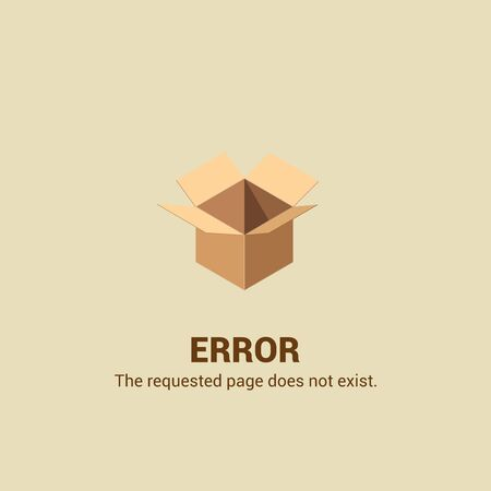 404 Page not Found Design Template. Open Empty Cardboard Box. 404 Error Page Concept. Link to Non-Existing Domain. Vector Illustration