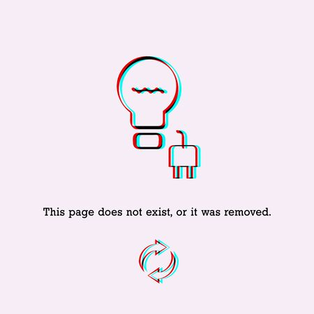 404 Page not Found Design Template. Plucked from the Socket, Glitch Effect. 404 Error Page Concept. Link to Non-Existing Domain. Vector Illustration Çizim