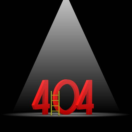 404 Page not Found Design Template. Spotlight Above on Dark Scene. Big Red 3D 404 Numbers, Step Ladder. Non-Existing Domain. Vector Illustration
