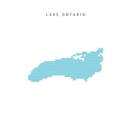 Vector Blue Wave Pattern Map of Lake Ontario. Wavy Line Pattern Silhouette of Lake Ontario