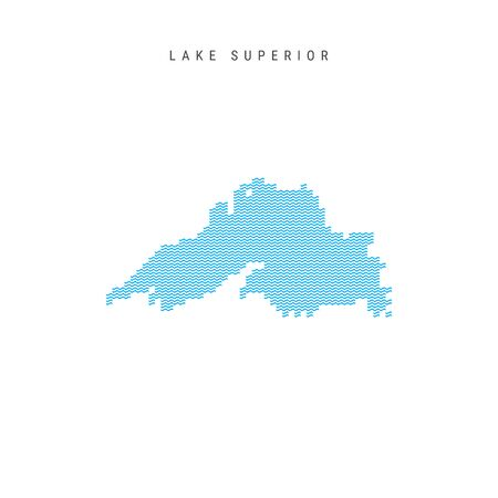 Vector Blue Wave Pattern Map of Lake Superior. Wavy Line Pattern Silhouette of Lake Superior Illustration
