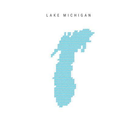 Vector Blue Wave Pattern Map of Lake Michigan. Wavy Line Pattern Silhouette of Lake Michigan 向量圖像