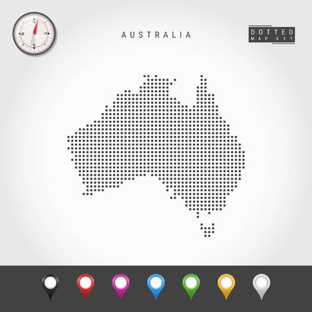 Dots Map of Australia. Simple Silhouette of Australia. Realistic Vector Compass. Set of Multicolored Map Markers. Vector Illustration. 矢量图像