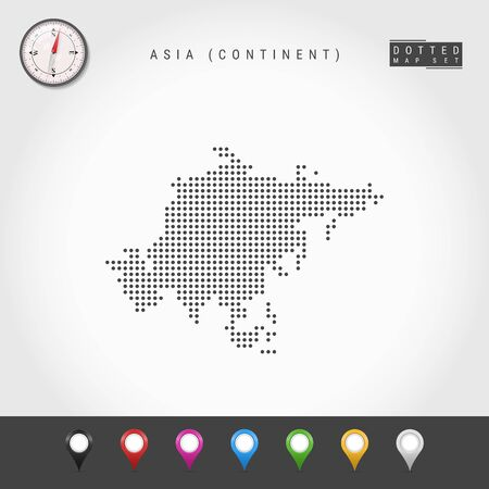 Dots Map of Asian continent. Simple Silhouette of Asia. Realistic Vector Compass. Set of Multicolored Map Markers. Vector Illustration.