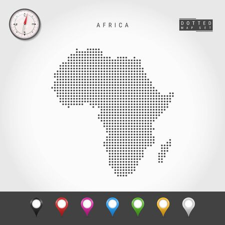 Dots Map of Africa. Simple Silhouette of Africa. Realistic Vector Compass. Set of Multicolored Map Markers. Vector Illustration.