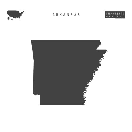 Arkansas US State Blank Vector Map Isolated on White Background. High-Detailed Black Silhouette Map of Arkansas. Ilustrace