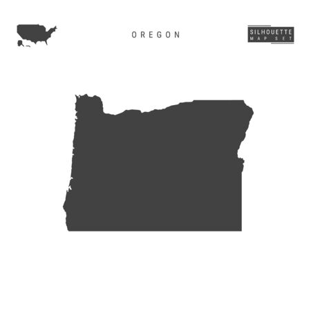 Oregon US State Vector Map Isolated on White Background. High-Detailed Black Silhouette Map of Oregon