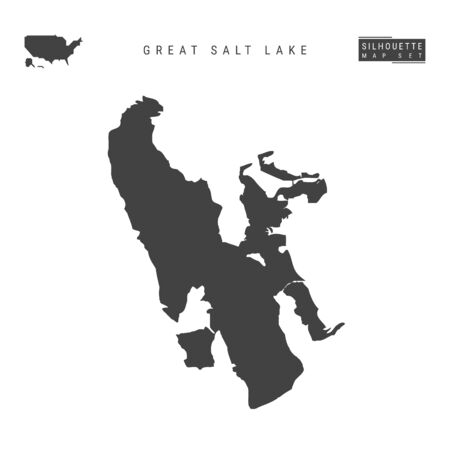 Great Salt Lake Vector Map Isolated on White Background. High-Detailed Black Silhouette Map of Great Salt Lake  イラスト・ベクター素材