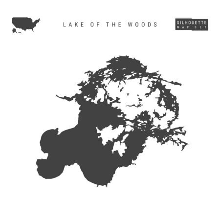 Lake of the Woods Vector Map Isolated on White Background. High-Detailed Black Silhouette Map of Lake of the Woods
