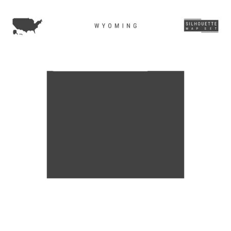 Wyoming US State Blank Vector Map Isolated on White Background. High-Detailed Black Silhouette Map of Wyoming.