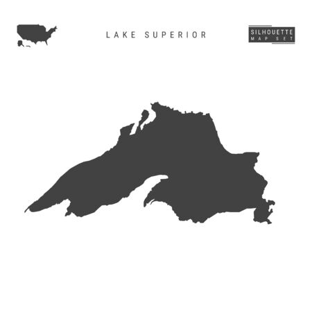 Lake Superior Blank Vector Map Isolated on White Background. High-Detailed Black Silhouette Map of Lake Superior.