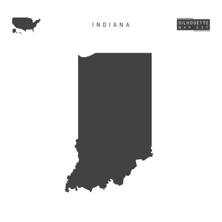 Indiana US State Blank Vector Map Isolated on White Background. High-Detailed Black Silhouette Map of Indiana. Illustration