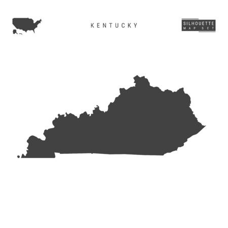 Kentucky US State Blank Vector Map Isolated on White Background. High-Detailed Black Silhouette Map of Kentucky.