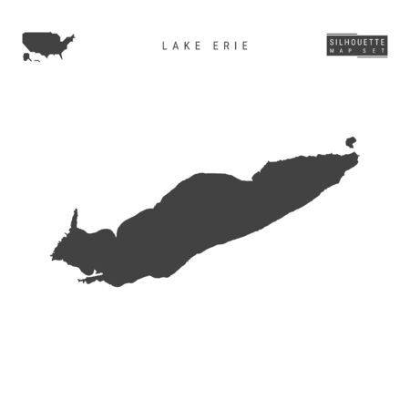 Lake Erie Blank Vector Map Isolated on White Background. High-Detailed Black Silhouette Map of Lake Erie.