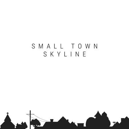 Siluetta dell'orizzonte di piccola città. Illustrazione vettoriale. Sagoma del villaggio. Chiesa di campagna. Case sul tetto, palo del telegrafo.