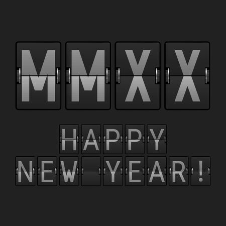 Airport Display Font. MMXX Big Letters. 2020 in the Roman Numerals. Happy New Year 2020. Vector Illustration Illustration