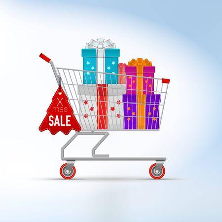 Cristmas Supermarket Trolley Cart. Christmas Sale Template. Vector Illustration