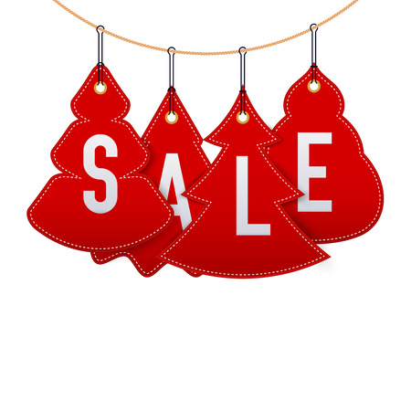 Hanging Simple Christmas Trees. Christmas and New Year Sale Symbols. Background, Template. Christmas Greeting Card. Vector Illustration.
