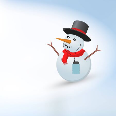Happy Snowman in the Cylinder. Merry Christmas and Happy New Year Light Background Background, Template. Christmas Greeting Card. Vector Illustration. Illustration