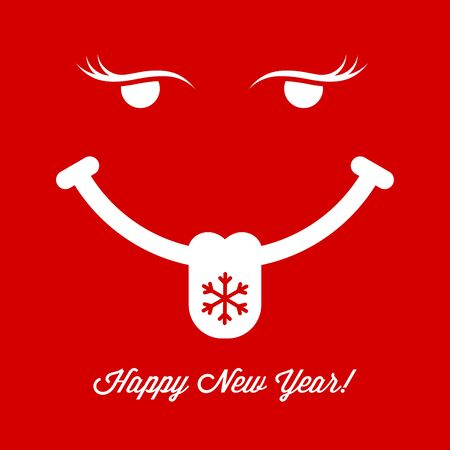 Showing Tongue Smiling Face on Red Background. Christmas and New Year Greeting Card Cover. Background, Template. Vector Illustration.