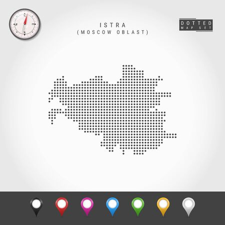 Dots Map of Istra, Moscow Oblast. Simple Silhouette of Istra. Vector Compass. Multicolored Map Markers. Vector Illustration.