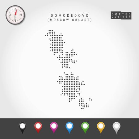 Dots Map of Domodedovo, Moscow Oblast. Simple Silhouette of Domodedovo. Vector Compass. Multicolored Map Markers. Vector Illustration. 일러스트