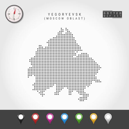 Dots Map of Yegoryevsk, Moscow Oblast. Simple Silhouette of Yegoryevsk. Vector Compass. Multicolored Map Markers. Vector Illustration. 일러스트