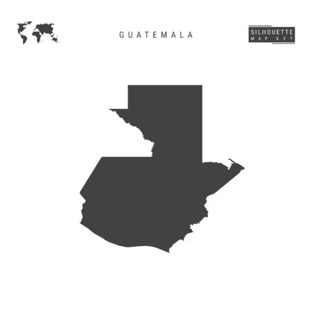 Guatemala Blank Vector Map Isolated on White Background. High-Detailed Black Silhouette Map of Guatemala.